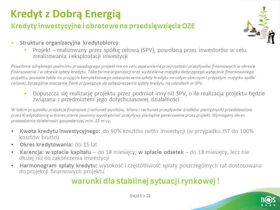 Slajd 6 z 22 6 Kredyt z Dobrą Energią Kredyty inwestycyjne i obrotowe na przedsięwzięcia OZE  Struktura organizacyjna kredytobiorcy  Projekt – reali