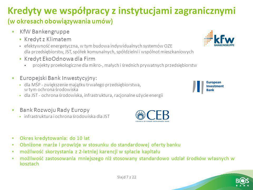 Slajd 7 z 22 7  KfW Bankengruppe  Kredyt z Klimatem  efektywność energetyczna, w tym budowa indywidualnych systemów OZE dla przedsiębiorstw, JST, s