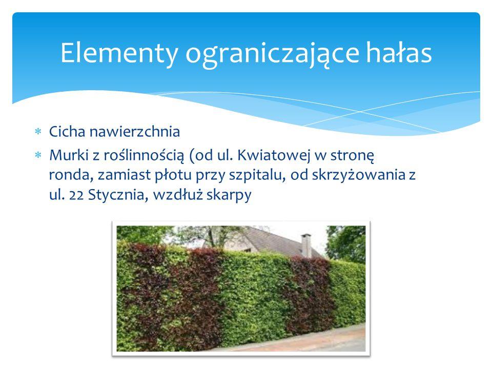  Przy przystanku PKS  Przy przejściach dla pieszych: na skrzyżowaniu z ulicami 22 Stycznia, Osnowską, Rydygiera, przy cmentarzu, Elementy ryflowane
