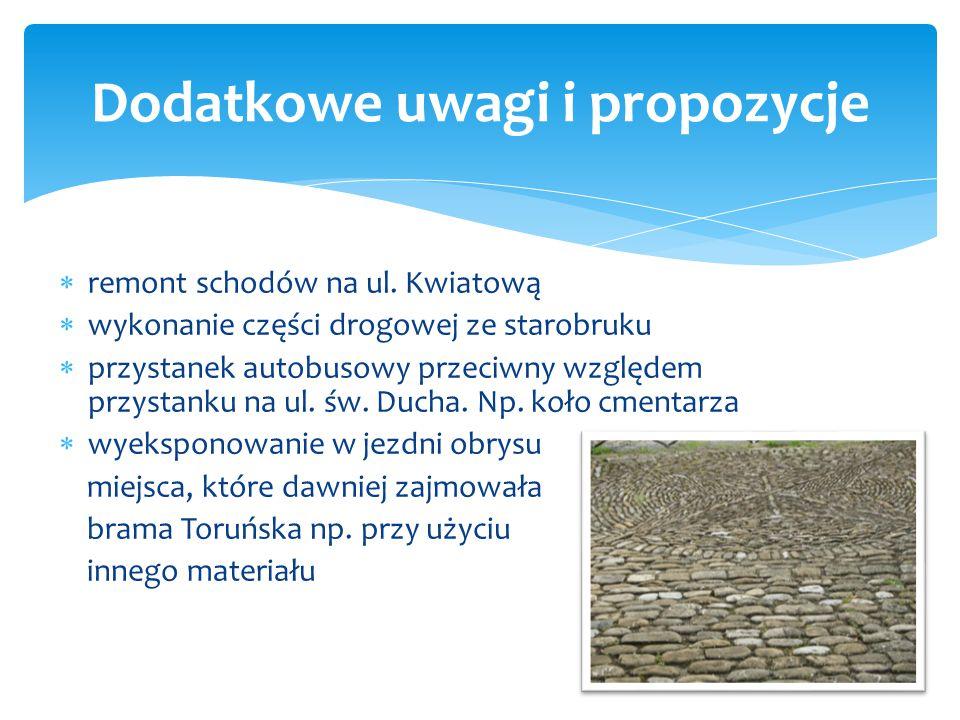  przegląd drzew  zjazdy do posesji  przegląd i wymiana starych instalacji podziemnych (kanalizacja deszczowa Toruńska-Brzozowo)  wprowadzenie ozna
