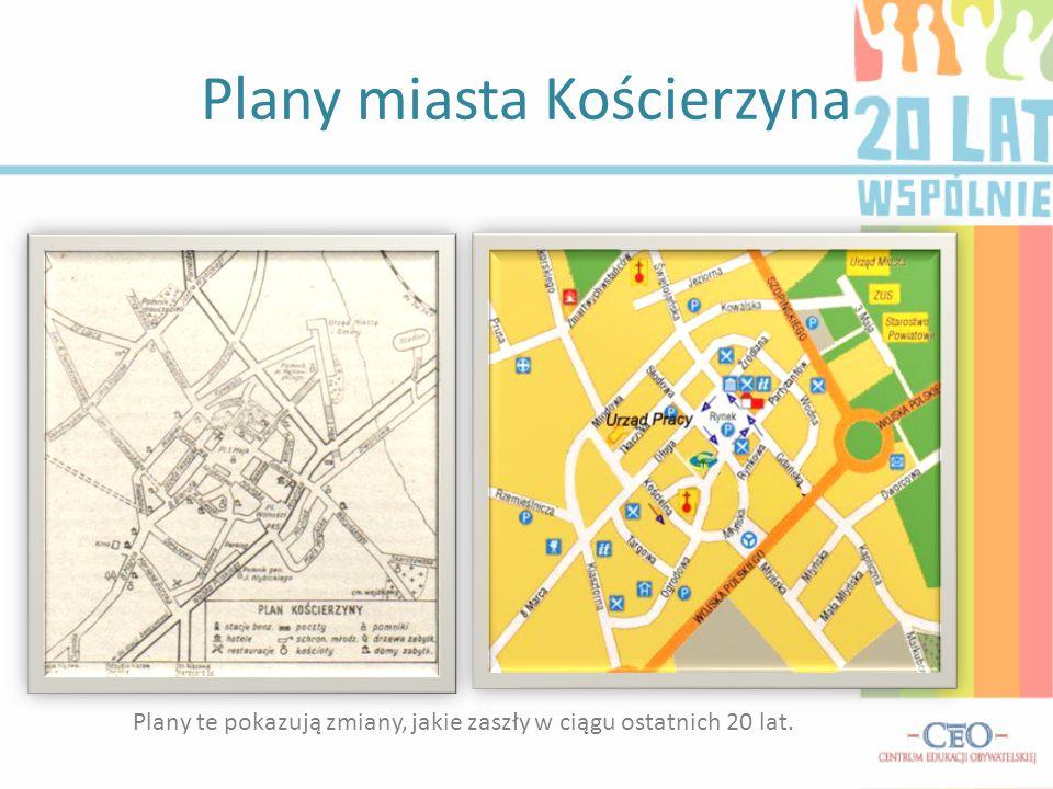 Plany miasta Kościerzyna Plany te pokazują zmiany, jakie zaszły w ciągu ostatnich 20 lat.