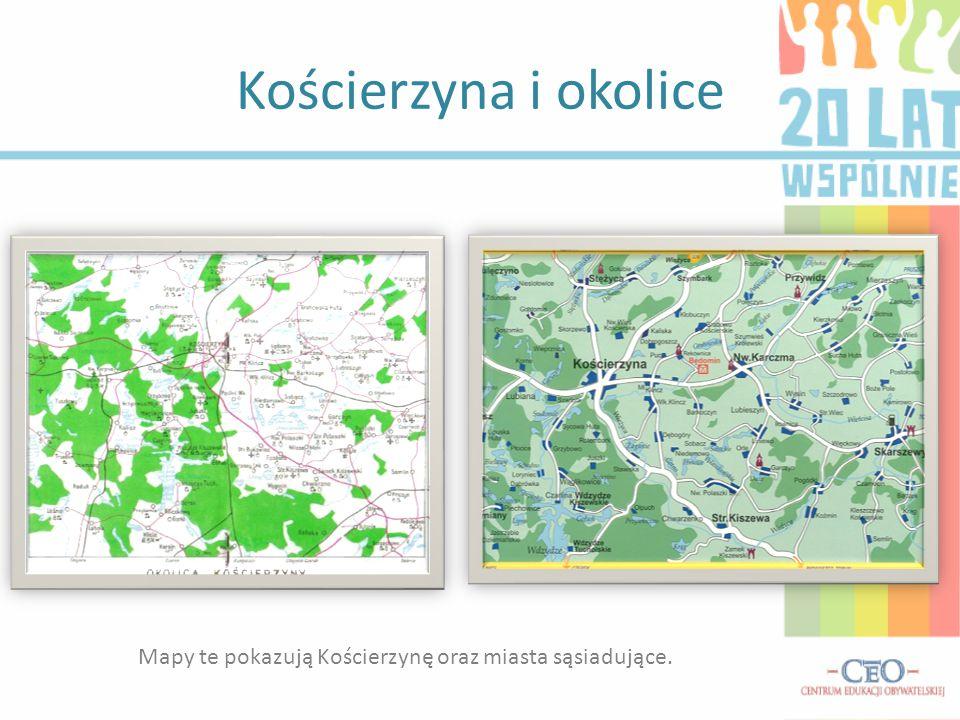 Kościerzyna i okolice Mapy te pokazują Kościerzynę oraz miasta sąsiadujące.