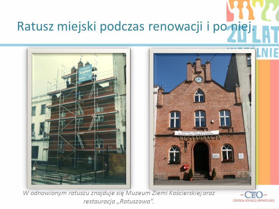 Ratusz miejski podczas renowacji i po niej.