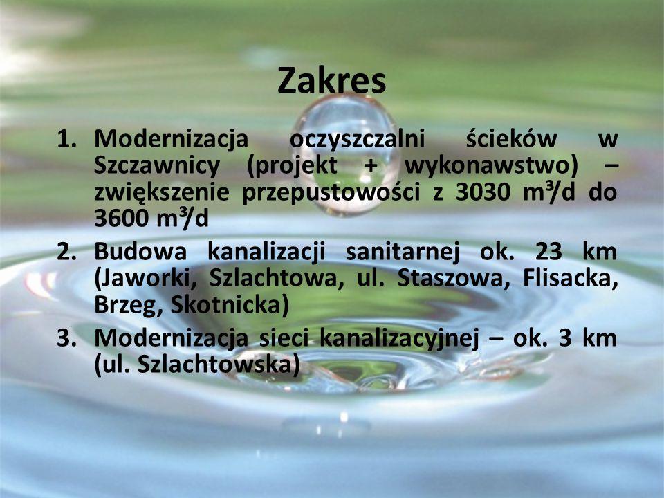 Zakres 1.Modernizacja oczyszczalni ścieków w Szczawnicy (projekt + wykonawstwo) – zwiększenie przepustowości z 3030 m³/d do 3600 m³/d 2.Budowa kanalizacji sanitarnej ok.