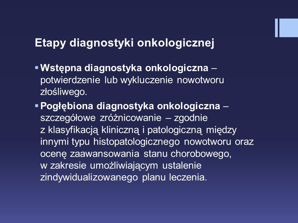 Etapy diagnostyki onkologicznej  Wstępna diagnostyka onkologiczna – potwierdzenie lub wykluczenie nowotworu złośliwego.  Pogłębiona diagnostyka onko