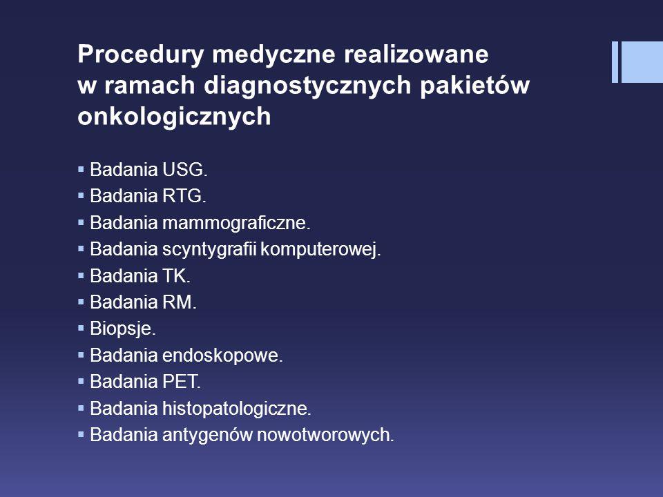Procedury medyczne realizowane w ramach diagnostycznych pakietów onkologicznych  Badania USG.  Badania RTG.  Badania mammograficzne.  Badania scyn