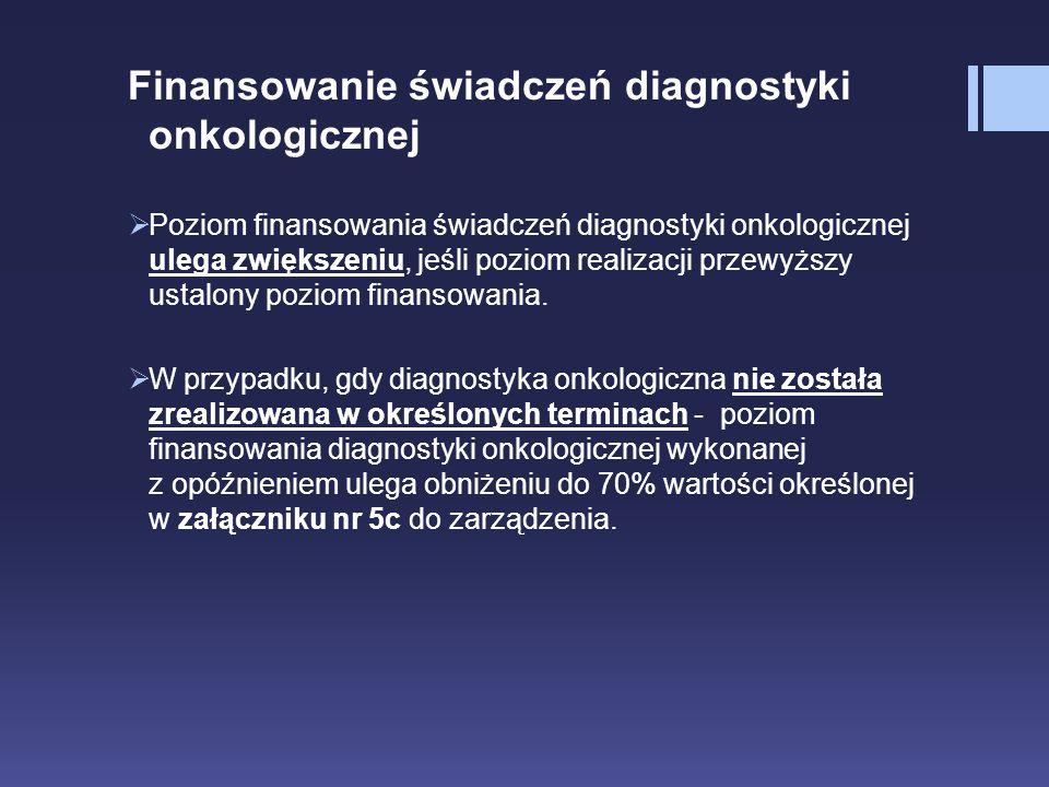 Finansowanie świadczeń diagnostyki onkologicznej  Poziom finansowania świadczeń diagnostyki onkologicznej ulega zwiększeniu, jeśli poziom realizacji