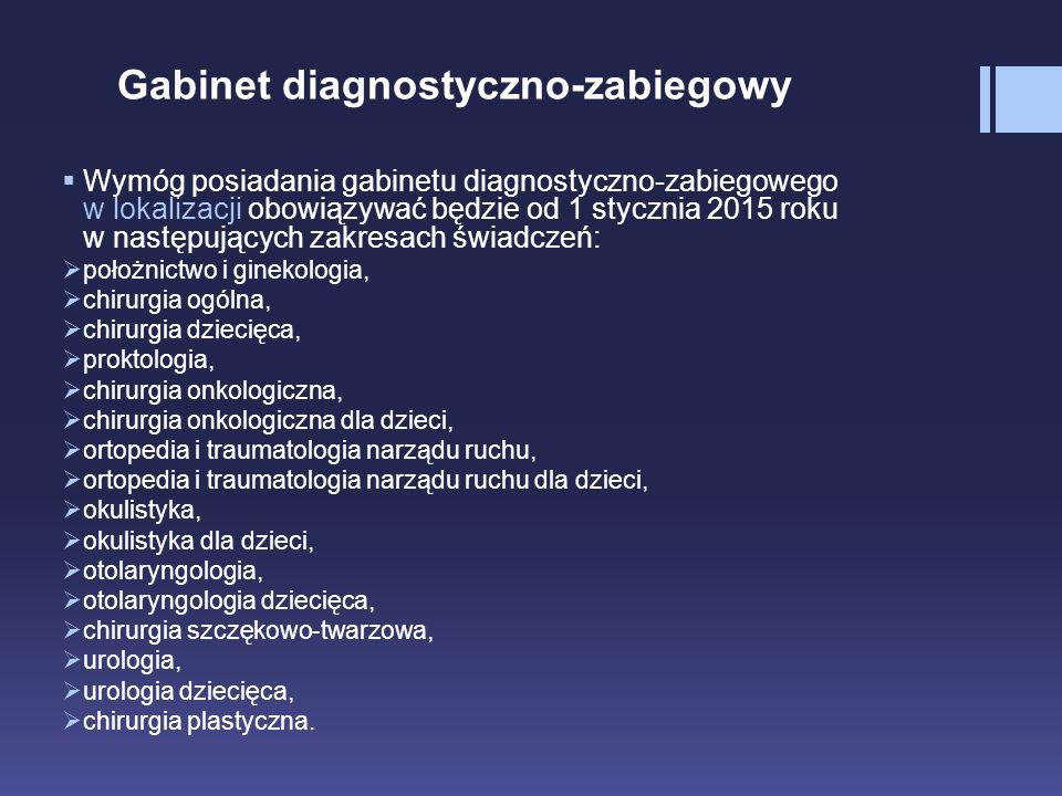 Gabinet diagnostyczno-zabiegowy  Wymóg posiadania gabinetu diagnostyczno-zabiegowego w lokalizacji obowiązywać będzie od 1 stycznia 2015 roku w nastę