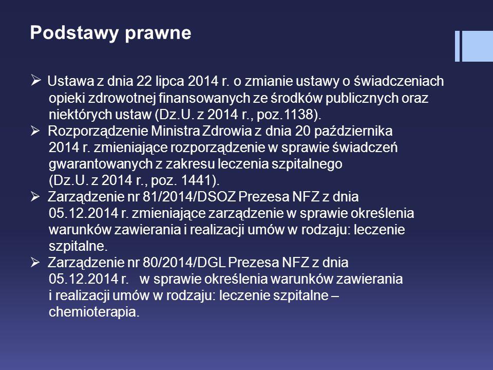 Podstawy prawne  Ustawa z dnia 22 lipca 2014 r. o zmianie ustawy o świadczeniach opieki zdrowotnej finansowanych ze środków publicznych oraz niektóry