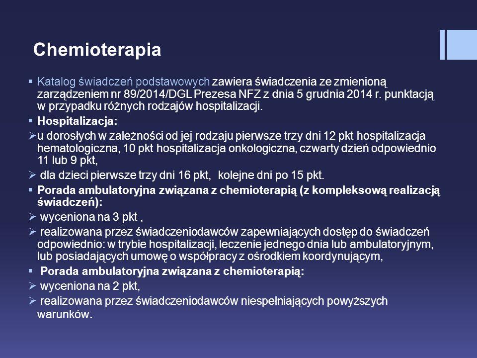 Chemioterapia  Katalog świadczeń podstawowych zawiera świadczenia ze zmienioną zarządzeniem nr 89/2014/DGL Prezesa NFZ z dnia 5 grudnia 2014 r. punkt