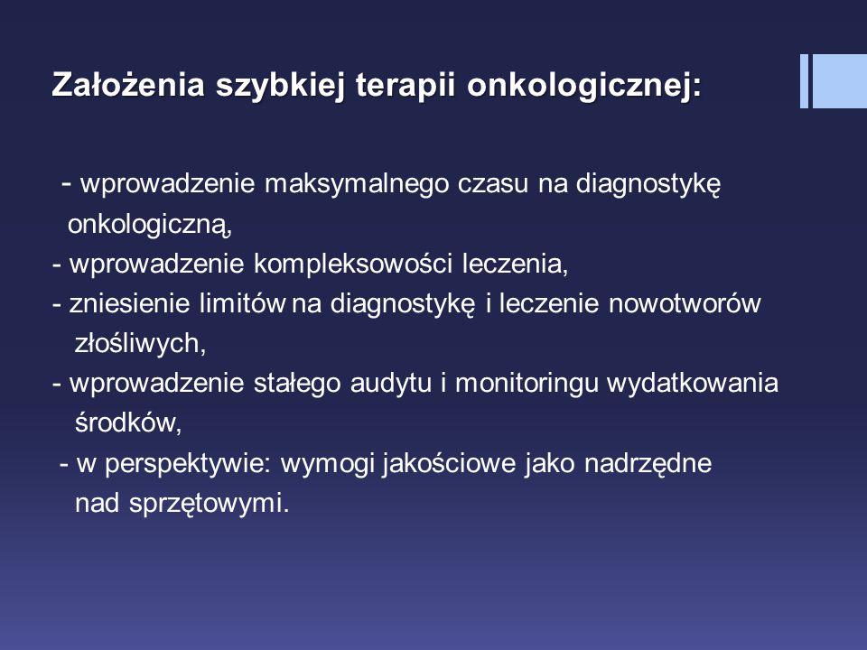 Założenia szybkiej terapii onkologicznej: - wprowadzenie maksymalnego czasu na diagnostykę onkologiczną, - wprowadzenie kompleksowości leczenia, - zni