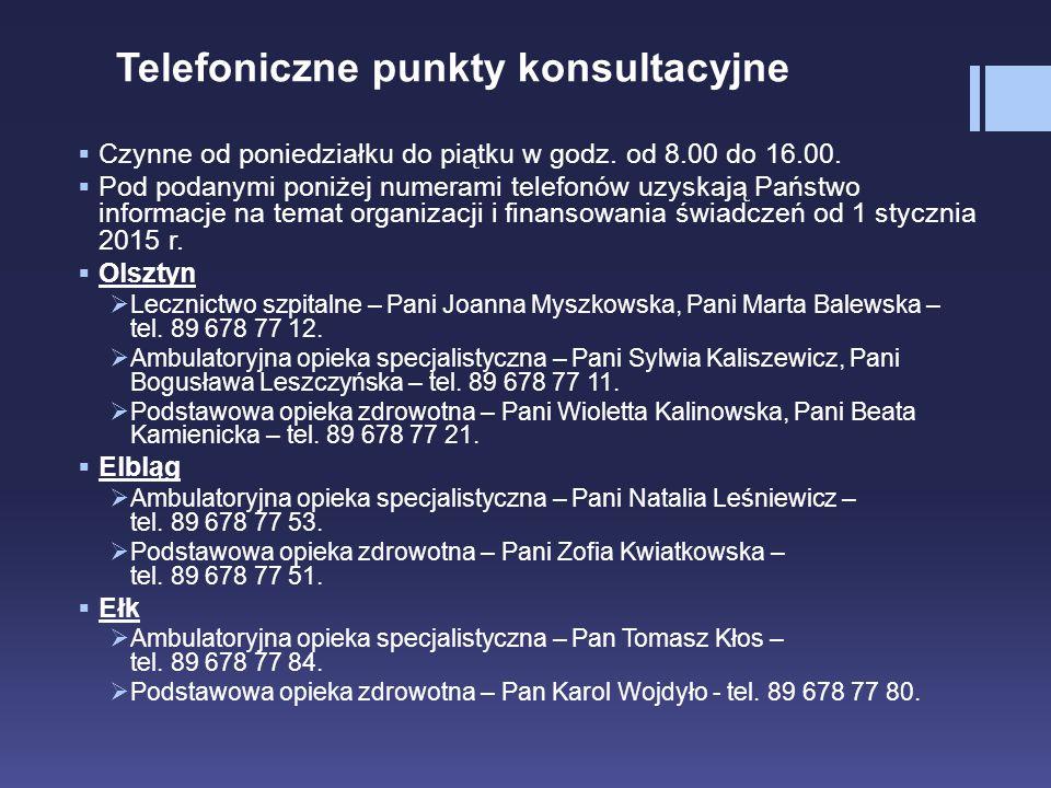 Telefoniczne punkty konsultacyjne  Czynne od poniedziałku do piątku w godz. od 8.00 do 16.00.  Pod podanymi poniżej numerami telefonów uzyskają Pańs