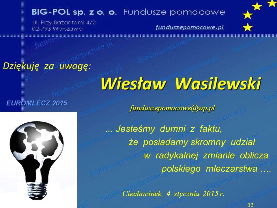 Wiesław Wasilewski funduszepomocowe@wp.pl Dziękuję za uwagę: Wiesław Wasilewski funduszepomocowe@wp.pl EUROMLECZ 2015...