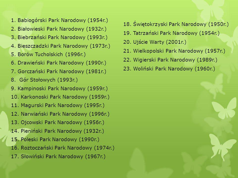 1. Babiogórski Park Narodowy (1954r.) 2. Białowieski Park Narodowy (1932r.) 3. Biebrzański Park Narodowy (1993r.) 4. Bieszczadzki Park Narodowy (1973r