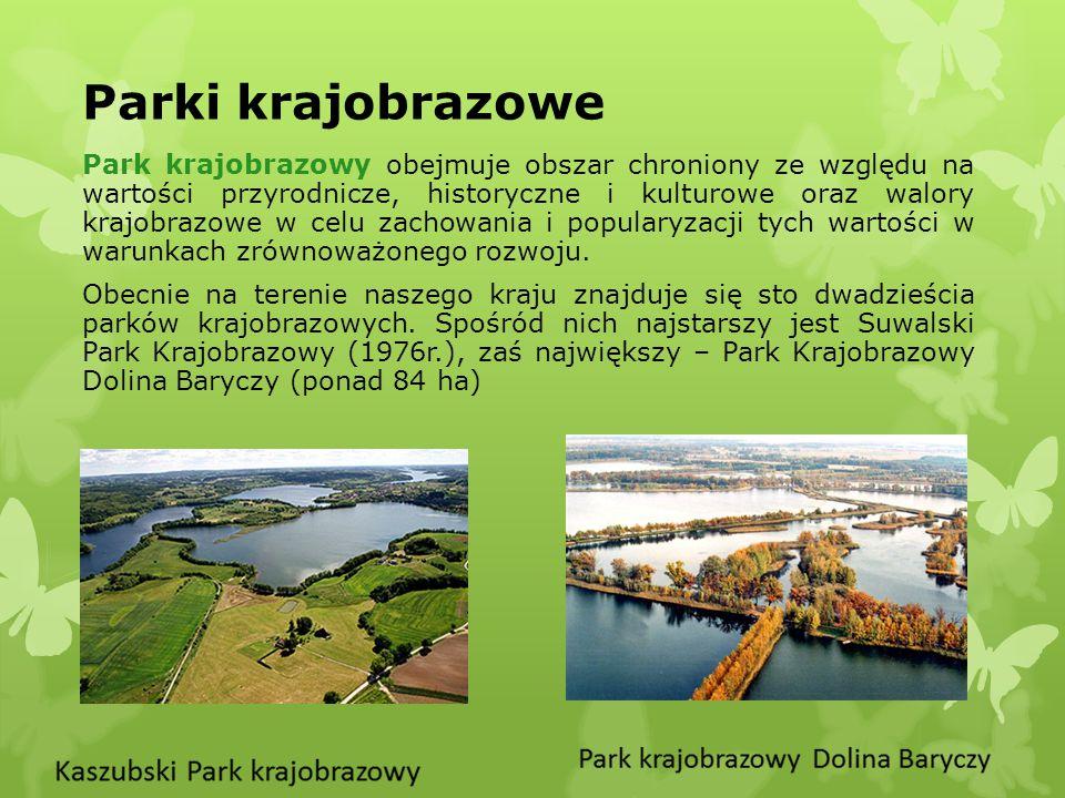 Parki krajobrazowe Park krajobrazowy obejmuje obszar chroniony ze względu na wartości przyrodnicze, historyczne i kulturowe oraz walory krajobrazowe w