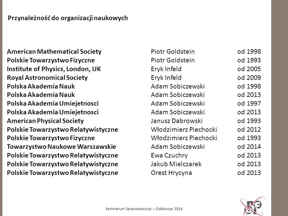Seminarium Sprawozdawczo – Odbiorcze 2014 Przynależność do organizacji naukowych American Mathematical Society Piotr Goldstein od 1998 Polskie Towarzy