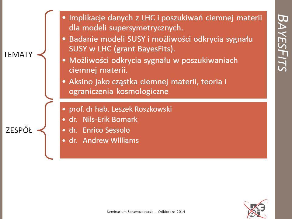 B AYES F ITS Seminarium Sprawozdawczo – Odbiorcze 2014 TEMATY Implikacje danych z LHC i poszukiwań ciemnej materii dla modeli supersymetrycznych. Bada
