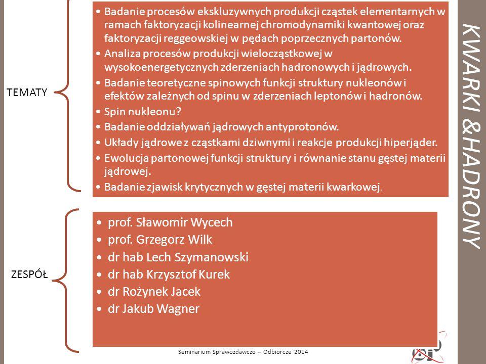 KWARKI &HADRONY Seminarium Sprawozdawczo – Odbiorcze 2014 TEMATY Badanie procesów ekskluzywnych produkcji cząstek elementarnych w ramach faktoryzacji