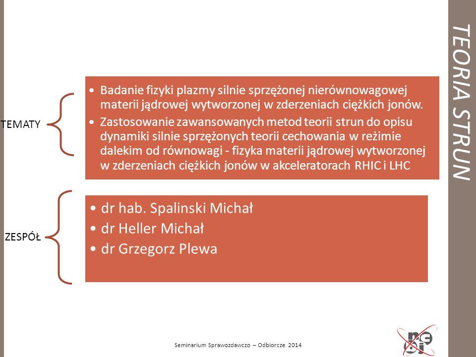 TEORIA STRUN Seminarium Sprawozdawczo – Odbiorcze 2014 TEMATY Badanie fizyki plazmy silnie sprzężonej nierównowagowej materii jądrowej wytworzonej w z