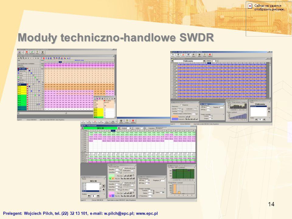 14 Moduły techniczno-handlowe SWDR Prelegent: Wojciech Pilch, tel. (22) 32 13 101, e-mail: w.pilch@epc.pl; www.epc.pl