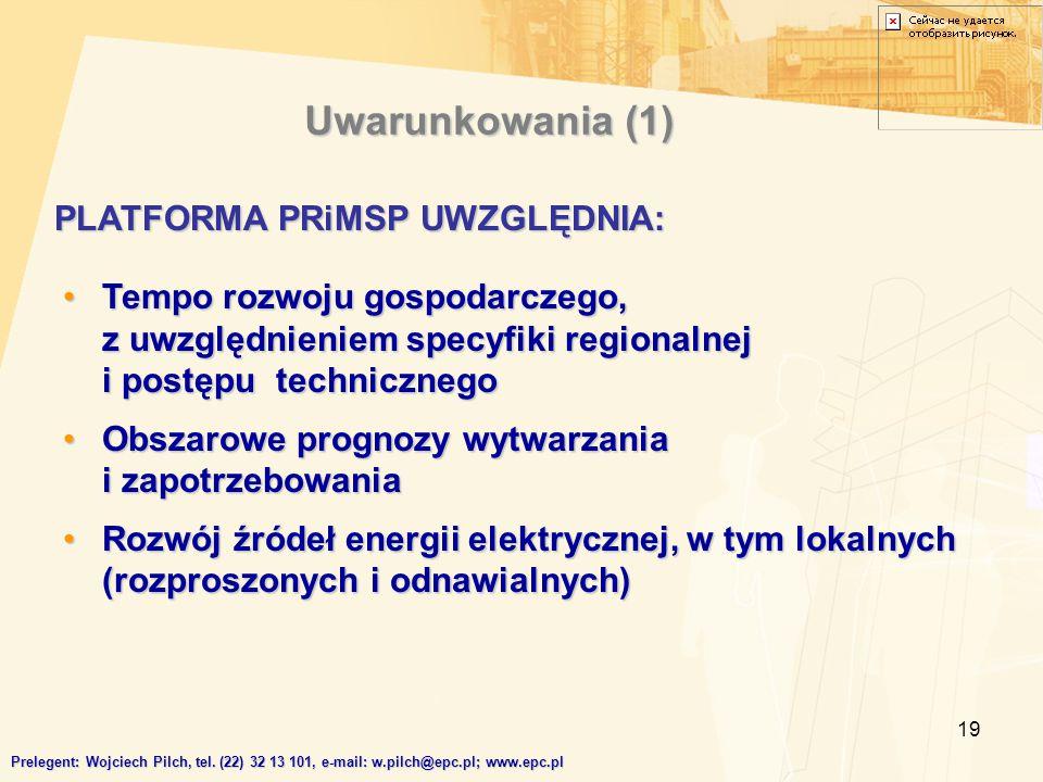 19 Tempo rozwoju gospodarczego, z uwzględnieniem specyfiki regionalnej i postępu technicznegoTempo rozwoju gospodarczego, z uwzględnieniem specyfiki regionalnej i postępu technicznego Obszarowe prognozy wytwarzania i zapotrzebowaniaObszarowe prognozy wytwarzania i zapotrzebowania Rozwój źródeł energii elektrycznej, w tym lokalnych (rozproszonych i odnawialnych)Rozwój źródeł energii elektrycznej, w tym lokalnych (rozproszonych i odnawialnych) PLATFORMA PRiMSP UWZGLĘDNIA: Uwarunkowania (1) Prelegent: Wojciech Pilch, tel.