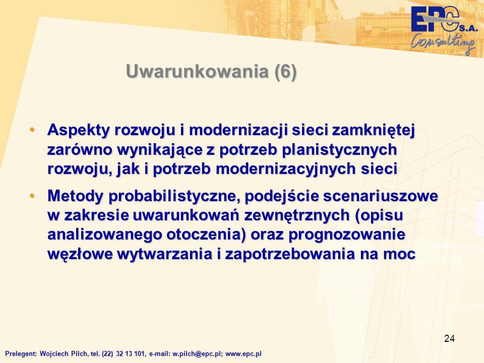 24 Uwarunkowania (6) Aspekty rozwoju i modernizacji sieci zamkniętej zarówno wynikające z potrzeb planistycznych rozwoju, jak i potrzeb modernizacyjny
