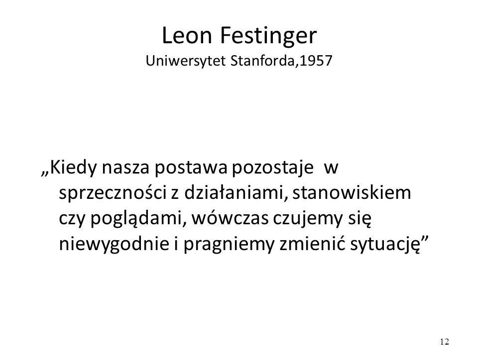 """12 Leon Festinger Uniwersytet Stanforda,1957 """"Kiedy nasza postawa pozostaje w sprzeczności z działaniami, stanowiskiem czy poglądami, wówczas czujemy się niewygodnie i pragniemy zmienić sytuację"""