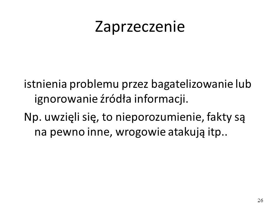 26 Zaprzeczenie istnienia problemu przez bagatelizowanie lub ignorowanie źródła informacji.