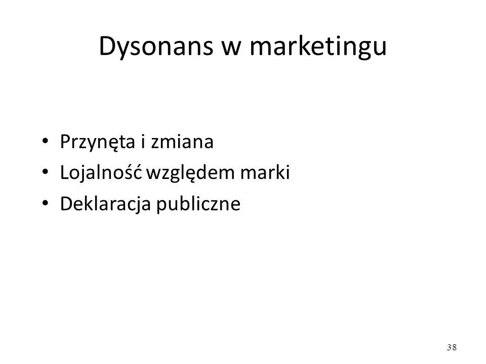 38 Dysonans w marketingu Przynęta i zmiana Lojalność względem marki Deklaracja publiczne