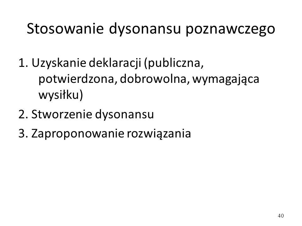 40 Stosowanie dysonansu poznawczego 1.