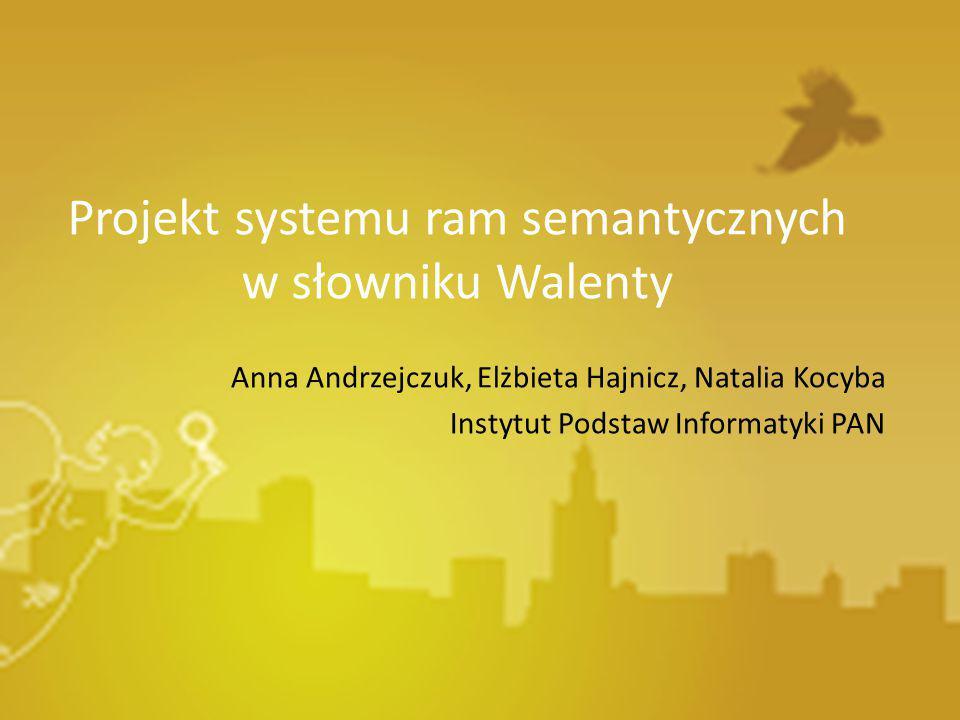 Projekt systemu ram semantycznych w słowniku Walenty Anna Andrzejczuk, Elżbieta Hajnicz, Natalia Kocyba Instytut Podstaw Informatyki PAN