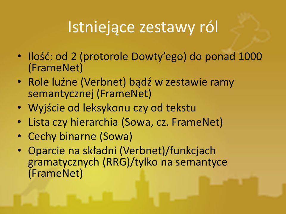Istniejące zestawy ról Ilość: od 2 (protorole Dowty'ego) do ponad 1000 (FrameNet) Role luźne (Verbnet) bądź w zestawie ramy semantycznej (FrameNet) Wy