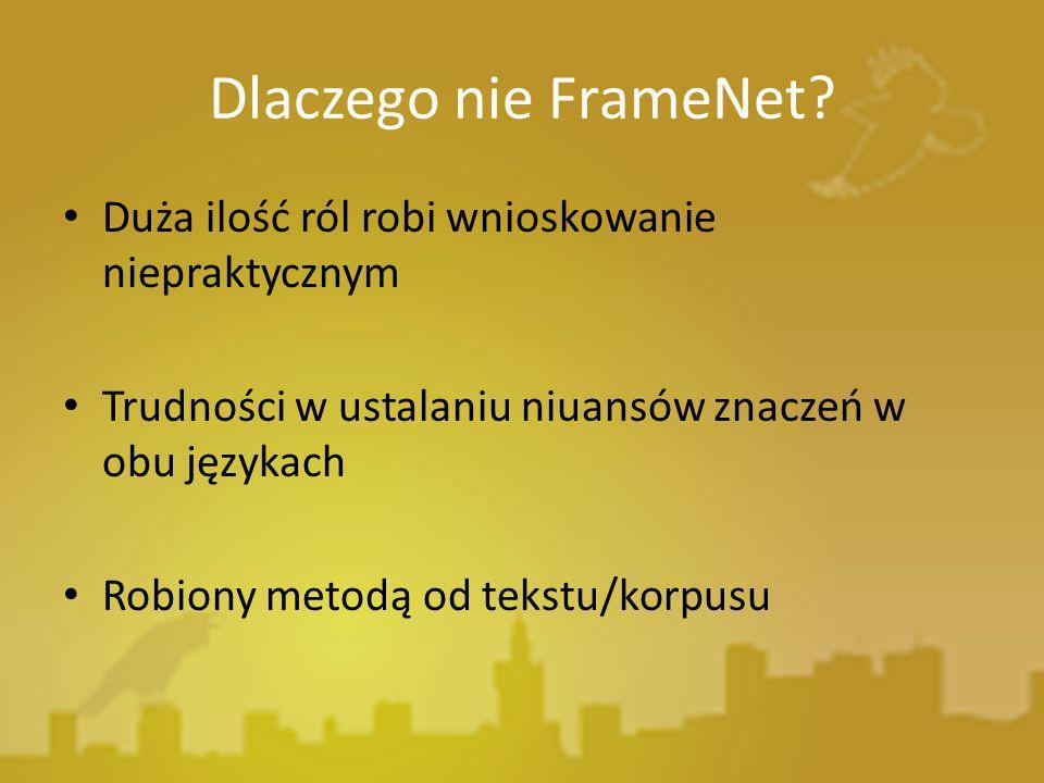 Dlaczego nie FrameNet? Duża ilość ról robi wnioskowanie niepraktycznym Trudności w ustalaniu niuansów znaczeń w obu językach Robiony metodą od tekstu/