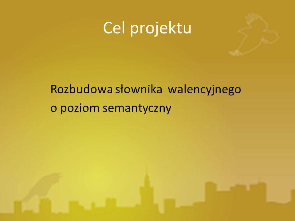 Cel projektu Rozbudowa słownika walencyjnego o poziom semantyczny