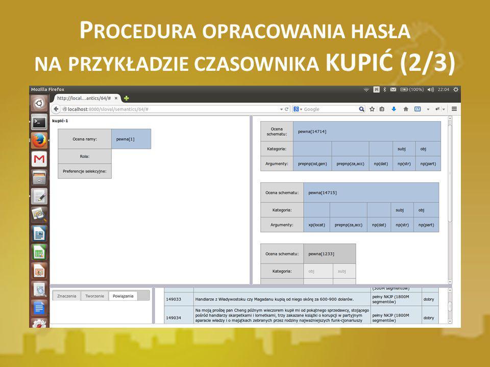 P ROCEDURA OPRACOWANIA HASŁA NA PRZYKŁADZIE CZASOWNIKA KUPIĆ (2/3)