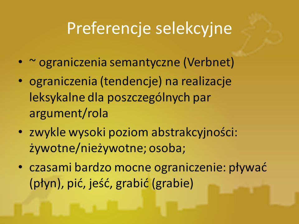 Preferencje selekcyjne ~ ograniczenia semantyczne (Verbnet) ograniczenia (tendencje) na realizacje leksykalne dla poszczególnych par argument/rola zwy