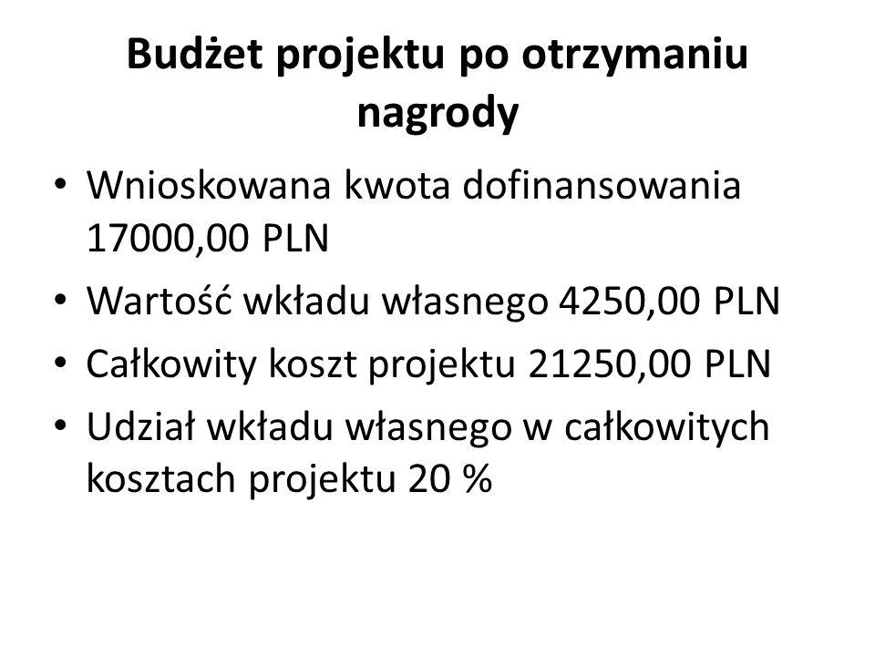 Budżet projektu po otrzymaniu nagrody Wnioskowana kwota dofinansowania 17000,00 PLN Wartość wkładu własnego 4250,00 PLN Całkowity koszt projektu 21250,00 PLN Udział wkładu własnego w całkowitych kosztach projektu 20 %