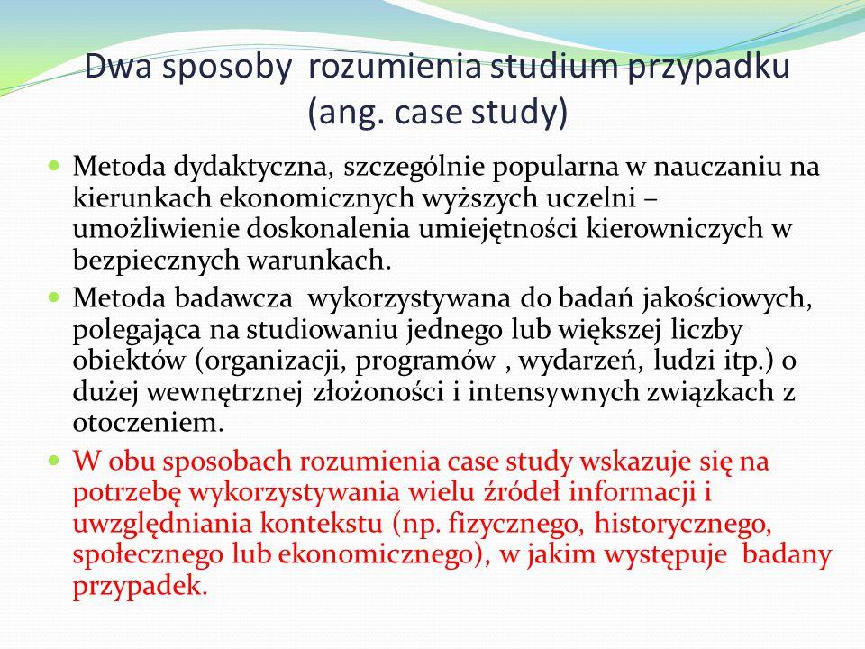 Dwa sposoby rozumienia studium przypadku (ang. case study) Metoda dydaktyczna, szczególnie popularna w nauczaniu na kierunkach ekonomicznych wyższych