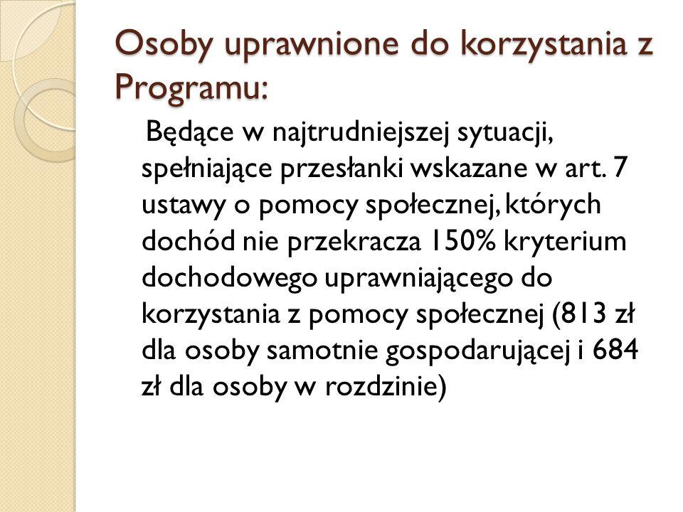 Osoby uprawnione do korzystania z Programu: Będące w najtrudniejszej sytuacji, spełniające przesłanki wskazane w art. 7 ustawy o pomocy społecznej, kt