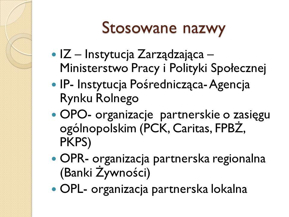 Stosowane nazwy IZ – Instytucja Zarządzająca – Ministerstwo Pracy i Polityki Społecznej IP- Instytucja Pośrednicząca- Agencja Rynku Rolnego OPO- organ