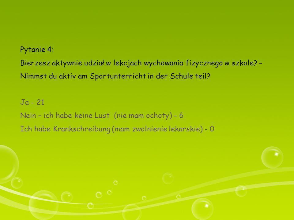 Pytanie 4: Bierzesz aktywnie udział w lekcjach wychowania fizycznego w szkole? – Nimmst du aktiv am Sportunterricht in der Schule teil? Ja - 21 Nein –