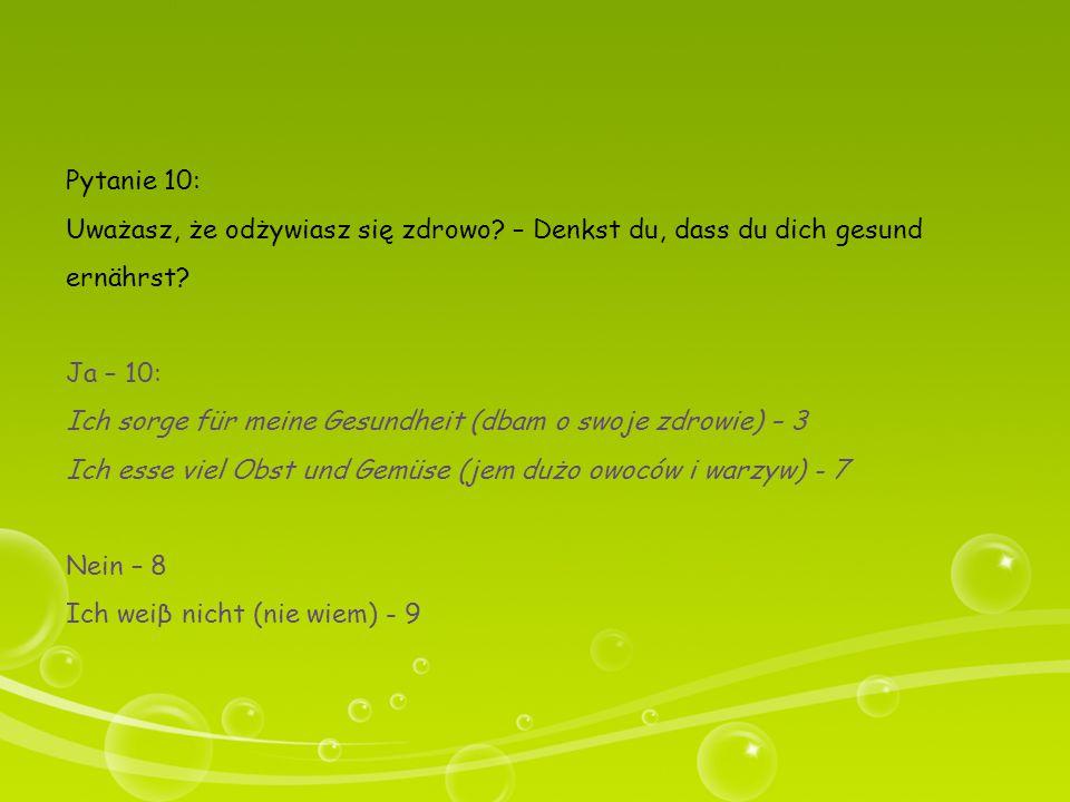 Pytanie 10: Uważasz, że odżywiasz się zdrowo? – Denkst du, dass du dich gesund ernährst? Ja – 10: Ich sorge für meine Gesundheit (dbam o swoje zdrowie