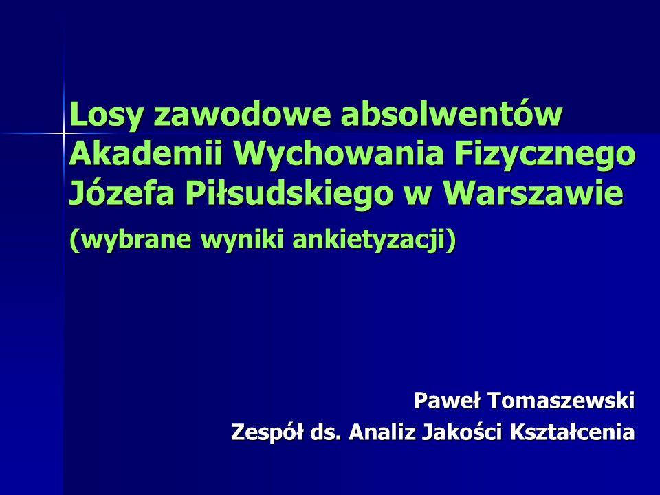 Losy zawodowe absolwentów Akademii Wychowania Fizycznego Józefa Piłsudskiego w Warszawie (wybrane wyniki ankietyzacji) Paweł Tomaszewski Zespół ds.