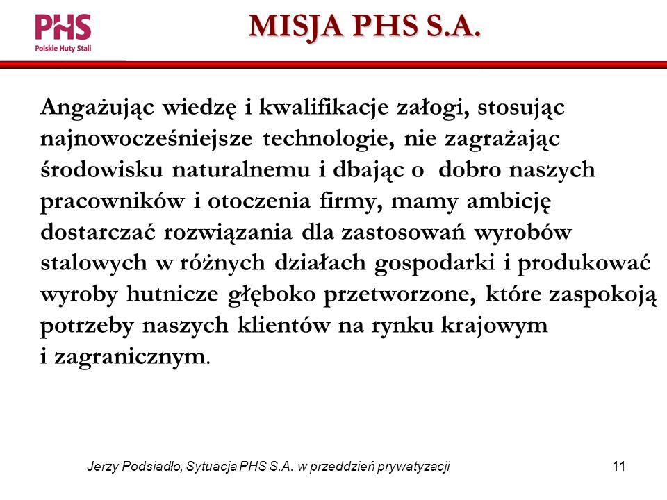 11 Jerzy Podsiadło, Sytuacja PHS S.A. w przeddzień prywatyzacji MISJA PHS S.A.