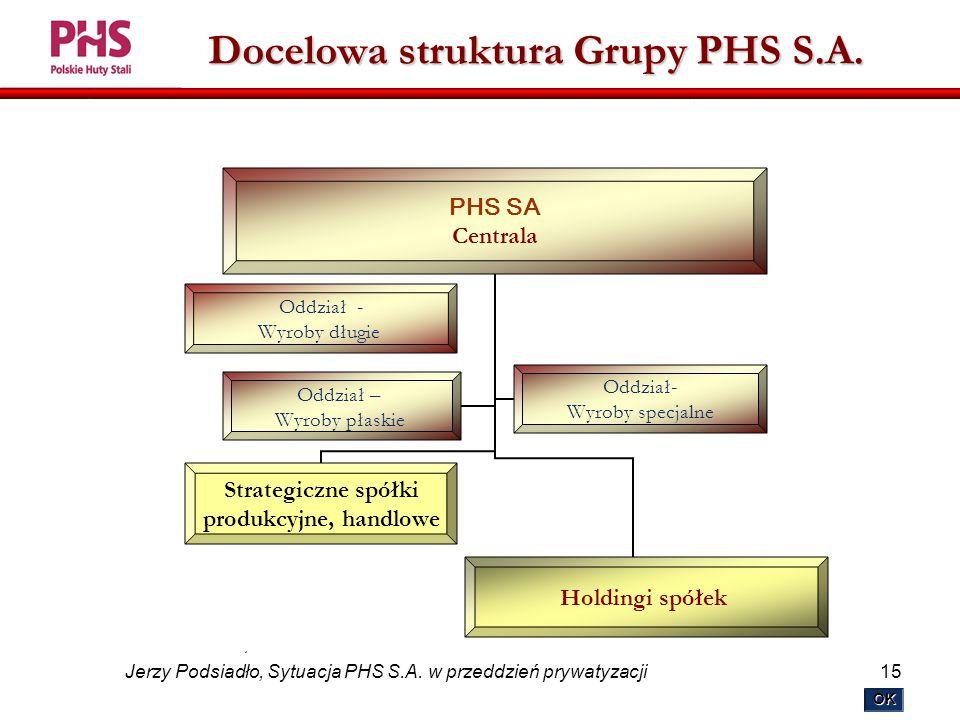 15 Jerzy Podsiadło, Sytuacja PHS S.A. w przeddzień prywatyzacji Docelowa struktura Grupy PHS S.A.