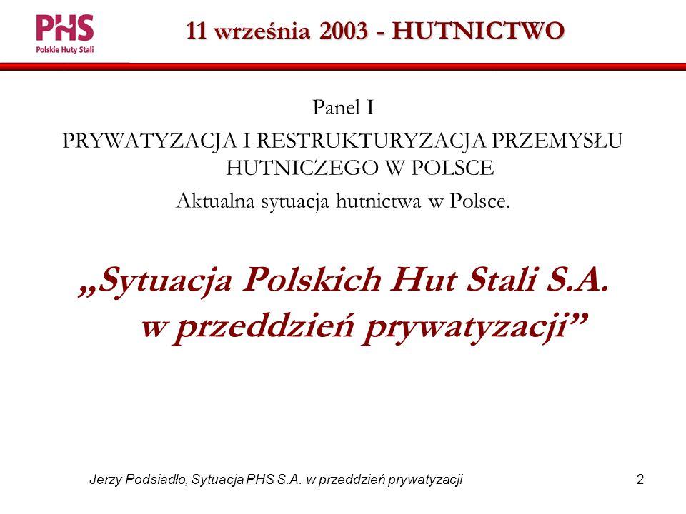 2 Jerzy Podsiadło, Sytuacja PHS S.A.