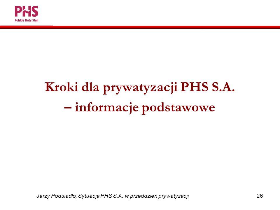 26 Jerzy Podsiadło, Sytuacja PHS S.A. w przeddzień prywatyzacji Kroki dla prywatyzacji PHS S.A.