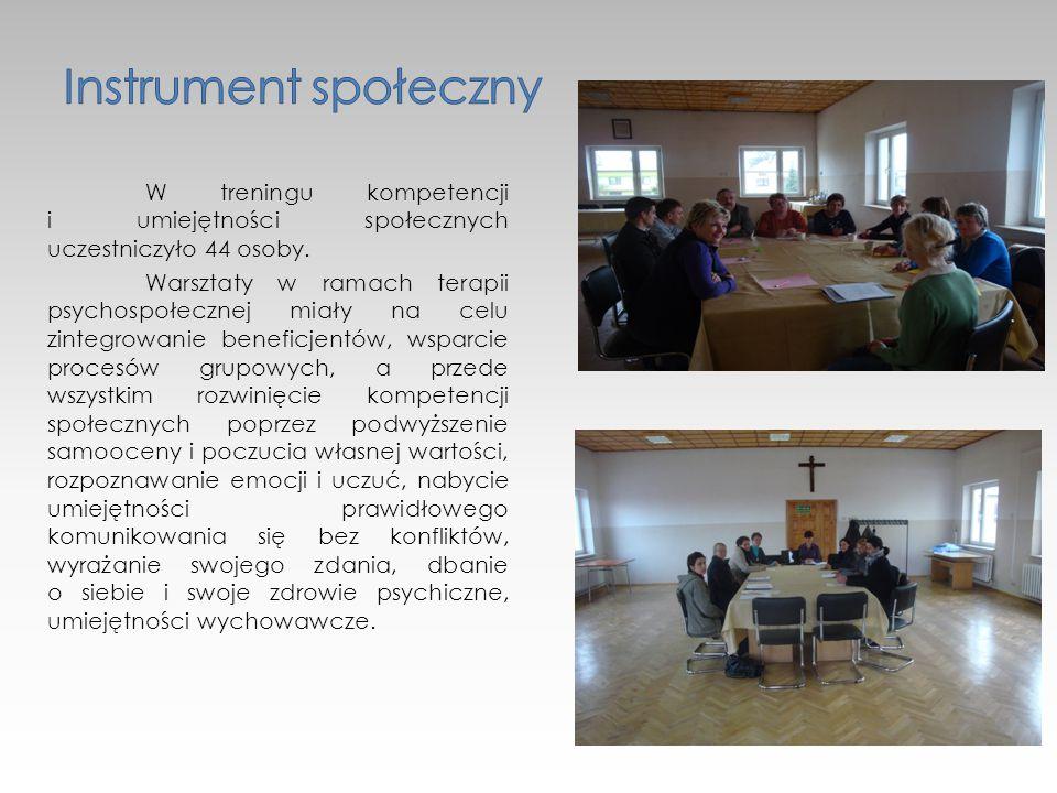 W treningu kompetencji i umiejętności społecznych uczestniczyło 44 osoby.