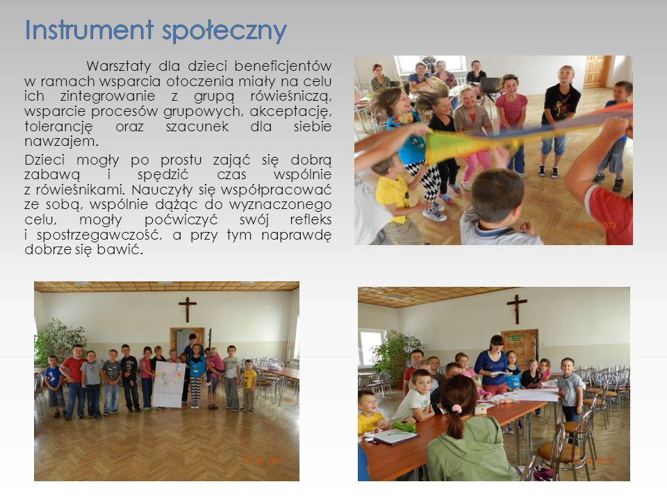 Warsztaty dla dzieci beneficjentów w ramach wsparcia otoczenia miały na celu ich zintegrowanie z grupą rówieśniczą, wsparcie procesów grupowych, akceptację, tolerancję oraz szacunek dla siebie nawzajem.