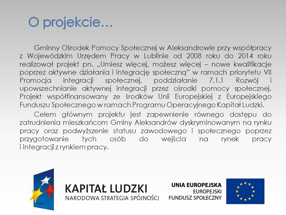Gminny Ośrodek Pomocy Społecznej w Aleksandrowie przy współpracy z Wojewódzkim Urzędem Pracy w Lublinie od 2008 roku do 2014 roku realizował projekt pn.